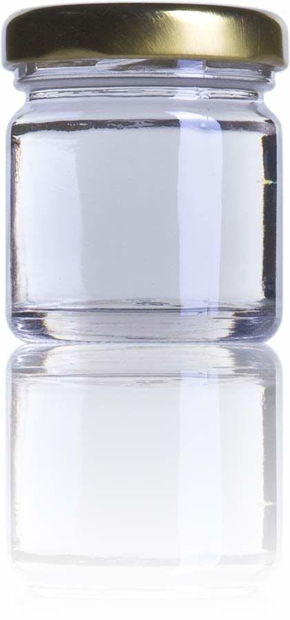 Petit bocal en verre de 1 once et demi . Sa taille est parfaite pour donner à vos invités dans tout type d'événement.
