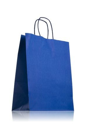 Blue paper bag with handles 24 x 31 cm