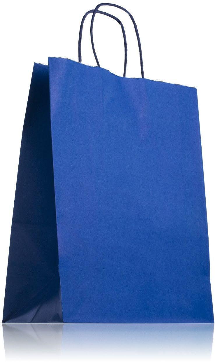 Sac en papier bleu avec poignées 24 x 31 cm