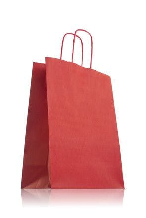 Red paper bag with handles 24 x 31 cm