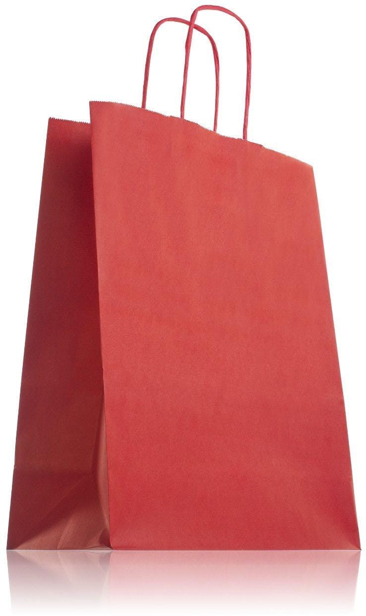 Bolsa de papel roja con asas 24 x 31 cm
