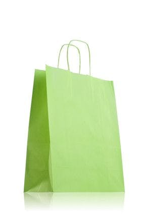Green paper bag with handles 24 x 31 cm
