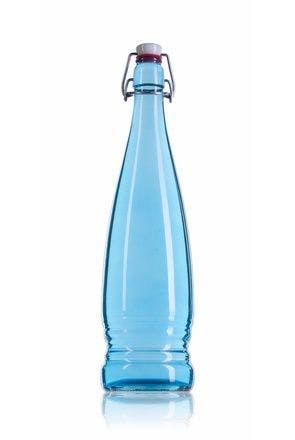 Bouteille Eva 1 litre bleu  avec bouchon mécanique