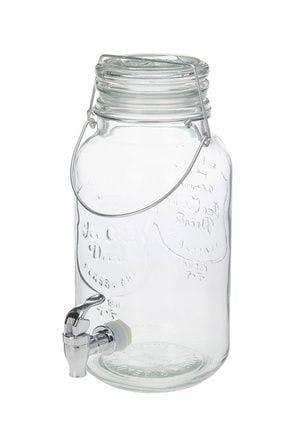 Distributeur de boissons bocal en verre avec poignée et robinet 4000 ml