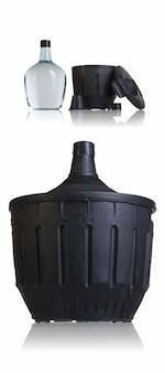 Garrafa de vidrio Damajuana 16 litros con funda plástico negra y cubre tapón