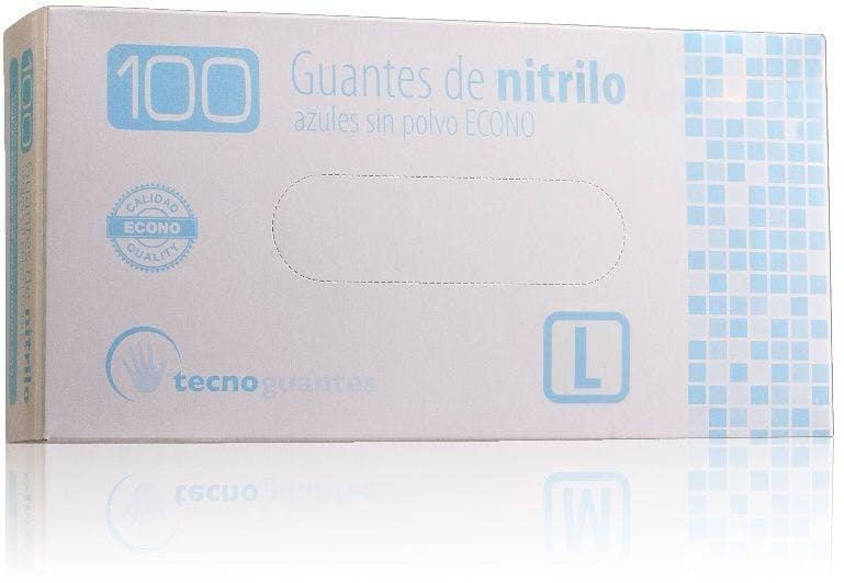 Guantes de nitrilo azules sin polvo talla L