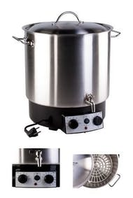 Stainless steel 30 litres pasteurizer with thermostat, timer and tap MetaIMGIn Tarros, frascos y botes de vidrio