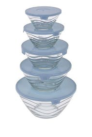 Set of 5 glass bowls with lid