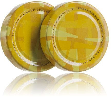 Lid TO 66 Deep DWO decorated yellow Pasteurization without button