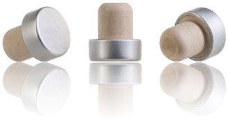 Synthetic cork stopper with silver head