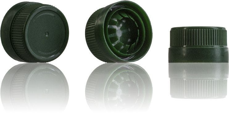 Green cap 36/29 Two pieces  systems  close  caps