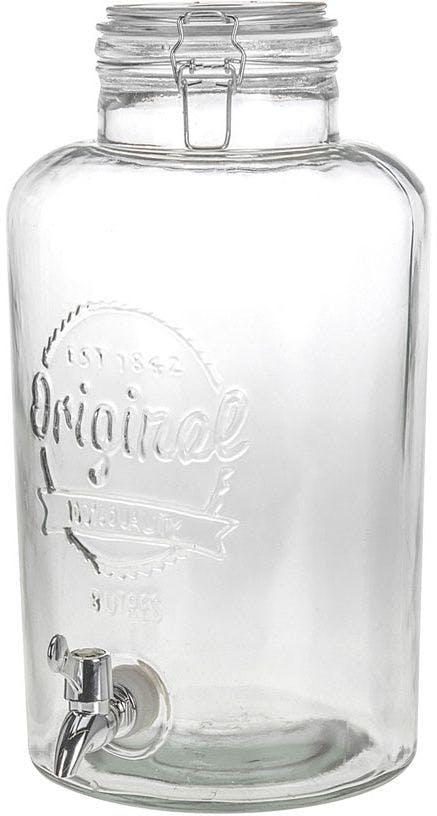 Distributeur de boissons bocal en verre avec robinet 8000 ml