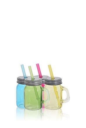 Conjunto de 4 potes de vidro 75 ml com canudo
