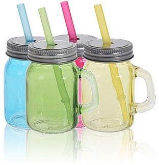 Set de 4 bocaux en verre 75 ml avec paille